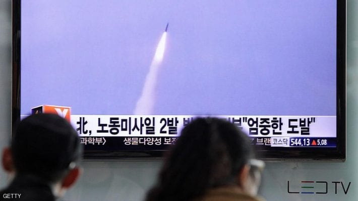 SEOUL, SOUTH KOREA - MARCH 26:  People watch a television broadcast reporting the North Korean missile launch at the Seoul Railway Station on March 26, 2014 in Seoul, South Korea. North Korea test-launched two Nodong medium-range ballistic missiles into the sea off Korean peninsula's east coast on Wednesday morning, according to South Korea's defence ministry.  (Photo by Chung Sung-Jun/Getty Images)