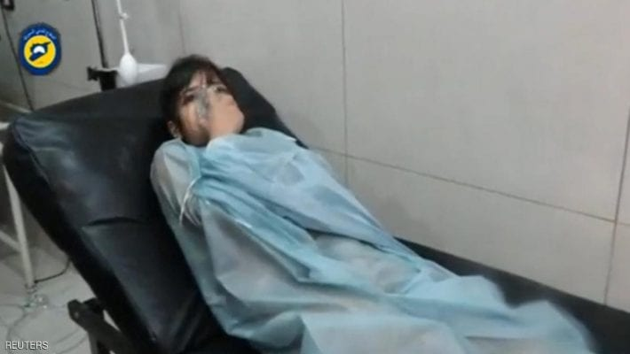 A still image taken on September 7, 2016 from a video posted on social media said to be shot in Aleppo's Al Sukari on September 6, 2016, shows a civilian breathing with an oxygen mask inside a hospital, after a suspected chlorine gas attack, Syria. Social Media via Reuters TV ATTENTION EDITORS - THIS IMAGE WAS PROVIDED BY A THIRD PARTY. EDITORIAL USE ONLY. NO RESALES. NO ARCHIVE. REUTERS IS UNABLE TO INDEPENDENTLY VERIFY THIS IMAGE.