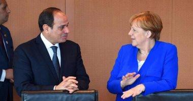 بالصور استقبال حافل للسيسي بالمستشارية الألمانية.. وميركل تؤكد أهمية دور مصر