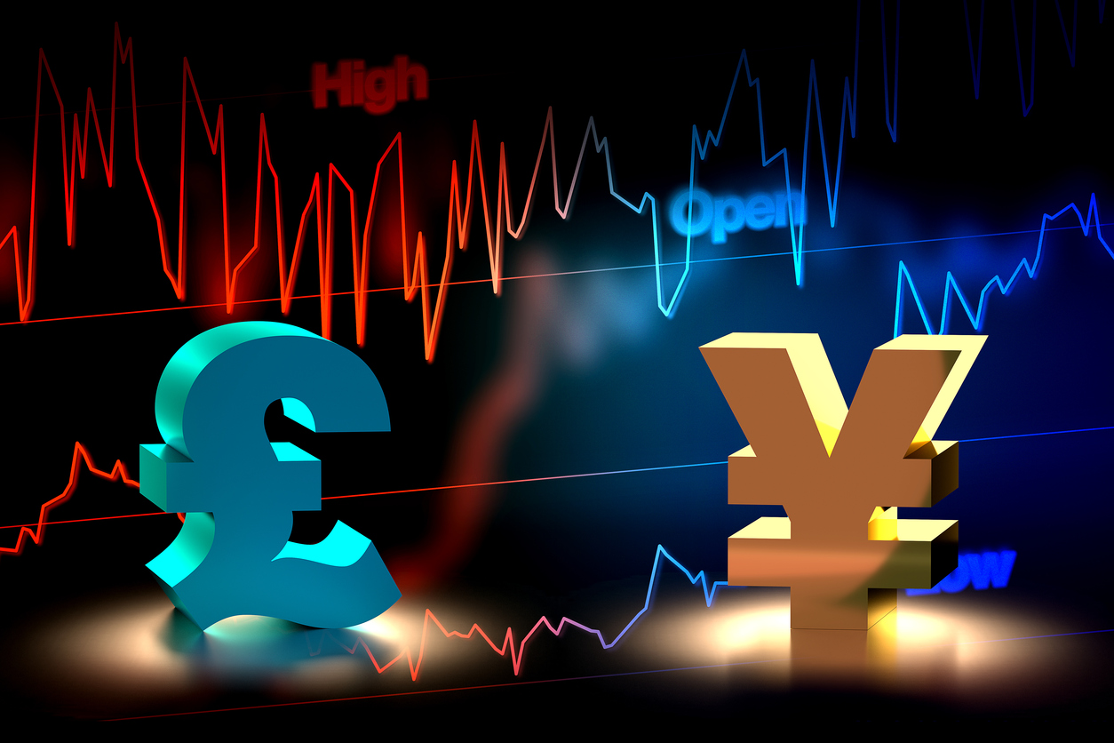 3D rendering of British Pound and Japanese Yen currency exchange with chart background.